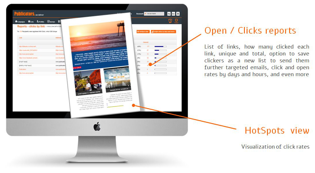Open clicks and hot spots view report